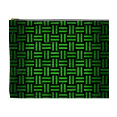 Woven1 Black Marble & Green Brushed Metal Cosmetic Bag (xl)