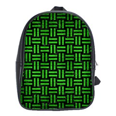 Woven1 Black Marble & Green Brushed Metal School Bag (large)