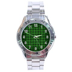 Woven1 Black Marble & Green Brushed Metal Stainless Steel Analogue Watch