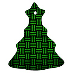 Woven1 Black Marble & Green Brushed Metal Christmas Tree Ornament (two Sides)