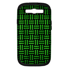 Woven1 Black Marble & Green Brushed Metal Samsung Galaxy S Iii Hardshell Case (pc+silicone)