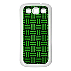 Woven1 Black Marble & Green Brushed Metal Samsung Galaxy S3 Back Case (white)