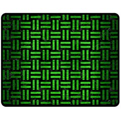 Woven1 Black Marble & Green Brushed Metal Double Sided Fleece Blanket (medium)