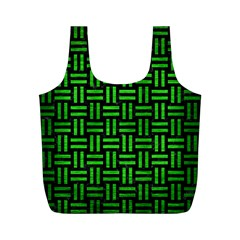 Woven1 Black Marble & Green Brushed Metal Full Print Recycle Bags (m)