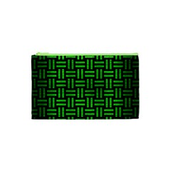 Woven1 Black Marble & Green Brushed Metal Cosmetic Bag (xs)