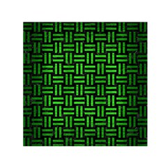 Woven1 Black Marble & Green Brushed Metal Small Satin Scarf (square)
