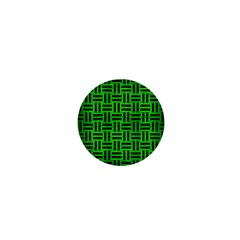 Woven1 Black Marble & Green Brushed Metal (r) 1  Mini Magnets