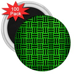 Woven1 Black Marble & Green Brushed Metal (r) 3  Magnets (100 Pack)