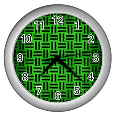 Woven1 Black Marble & Green Brushed Metal (r) Wall Clocks (silver)