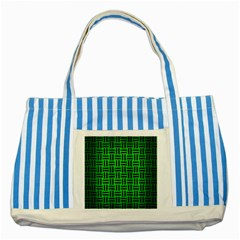 Woven1 Black Marble & Green Brushed Metal (r) Striped Blue Tote Bag