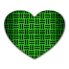 Woven1 Black Marble & Green Brushed Metal (r) Heart Mousepads