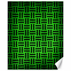 Woven1 Black Marble & Green Brushed Metal (r) Canvas 11  X 14