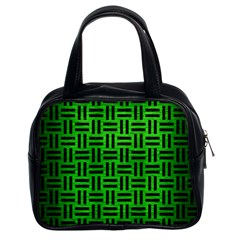 Woven1 Black Marble & Green Brushed Metal (r) Classic Handbags (2 Sides)