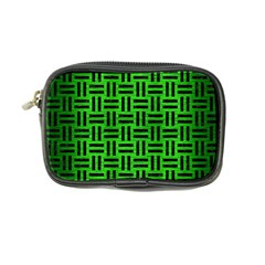 Woven1 Black Marble & Green Brushed Metal (r) Coin Purse