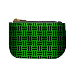 Woven1 Black Marble & Green Brushed Metal (r) Mini Coin Purses
