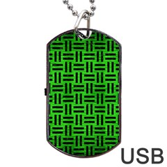Woven1 Black Marble & Green Brushed Metal (r) Dog Tag Usb Flash (two Sides)