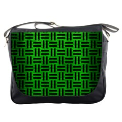 Woven1 Black Marble & Green Brushed Metal (r) Messenger Bags