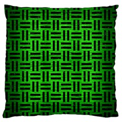Woven1 Black Marble & Green Brushed Metal (r) Large Cushion Case (one Side)