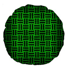 Woven1 Black Marble & Green Brushed Metal (r) Large 18  Premium Round Cushions