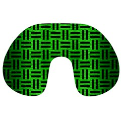 Woven1 Black Marble & Green Brushed Metal (r) Travel Neck Pillows
