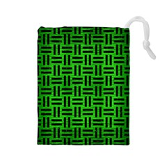 Woven1 Black Marble & Green Brushed Metal (r) Drawstring Pouches (large)