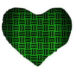 Woven1 Black Marble & Green Brushed Metal (r) Large 19  Premium Flano Heart Shape Cushions