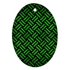 Woven2 Black Marble & Green Brushed Metal Ornament (oval)