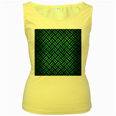 Woven2 Black Marble & Green Brushed Metal Women s Yellow Tank Top