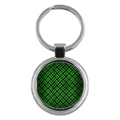 Woven2 Black Marble & Green Brushed Metal Key Chains (round)