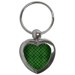 Woven2 Black Marble & Green Brushed Metal Key Chains (heart)