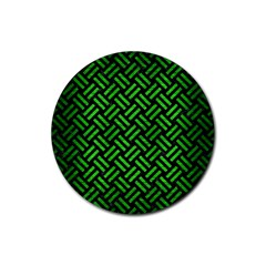 Woven2 Black Marble & Green Brushed Metal Rubber Round Coaster (4 Pack)