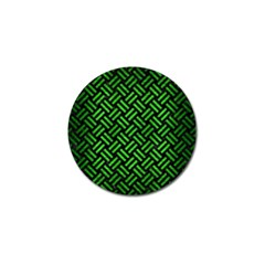 Woven2 Black Marble & Green Brushed Metal Golf Ball Marker