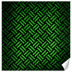 Woven2 Black Marble & Green Brushed Metal Canvas 16  X 16