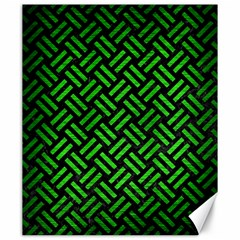 Woven2 Black Marble & Green Brushed Metal Canvas 20  X 24