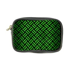 Woven2 Black Marble & Green Brushed Metal Coin Purse