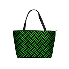 Woven2 Black Marble & Green Brushed Metal Shoulder Handbags