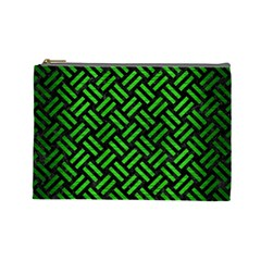 Woven2 Black Marble & Green Brushed Metal Cosmetic Bag (large)