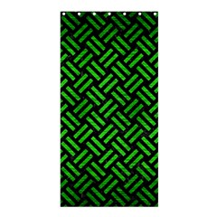 Woven2 Black Marble & Green Brushed Metal Shower Curtain 36  X 72  (stall)