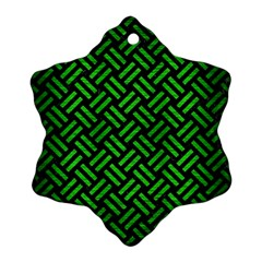 Woven2 Black Marble & Green Brushed Metal Snowflake Ornament (two Sides)