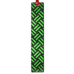 Woven2 Black Marble & Green Brushed Metal Large Book Marks