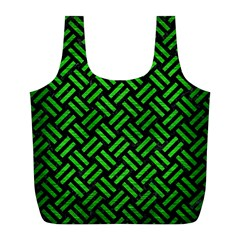 Woven2 Black Marble & Green Brushed Metal Full Print Recycle Bags (l)