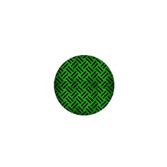 Woven2 Black Marble & Green Brushed Metal (r) 1  Mini Magnets