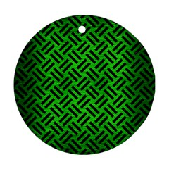 Woven2 Black Marble & Green Brushed Metal (r) Ornament (round)