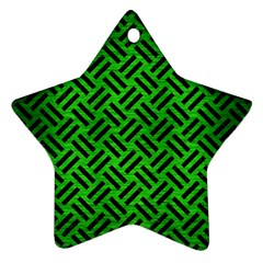 Woven2 Black Marble & Green Brushed Metal (r) Ornament (star)