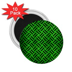 Woven2 Black Marble & Green Brushed Metal (r) 2 25  Magnets (10 Pack)