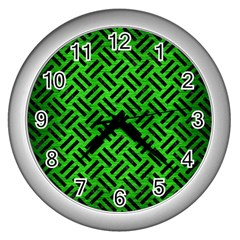 Woven2 Black Marble & Green Brushed Metal (r) Wall Clocks (silver)