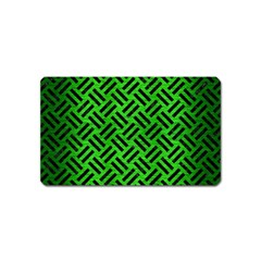 Woven2 Black Marble & Green Brushed Metal (r) Magnet (name Card)