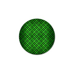 Woven2 Black Marble & Green Brushed Metal (r) Golf Ball Marker