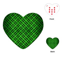 Woven2 Black Marble & Green Brushed Metal (r) Playing Cards (heart)