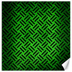Woven2 Black Marble & Green Brushed Metal (r) Canvas 16  X 16